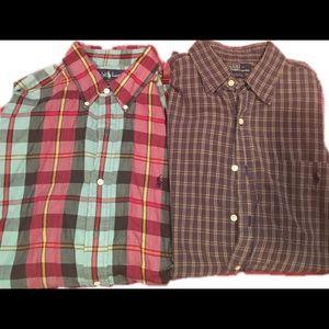 Lot 2 polo Ralph Lauren large button up shirt AA85
